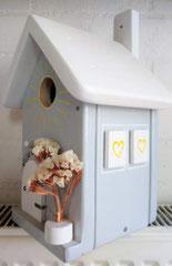 houten nestkastje beschilderd bloemen hekje naam persoonlijk_2