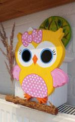 houten nestkastje beschilderd baby_ uil  vogelhuisje uniek speciaal_3