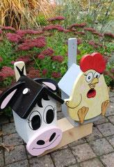 houten nestkastje beschilderd vogelhuisje speciaal kip_3