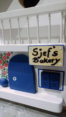 houten nestkastje beschilderd Grieks huis Bakery persoonlijk_2
