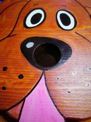 Houten Nestkastje Hond, donker bruin, Details, Vogelhuisje bouwen, gezicht_1