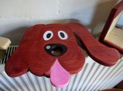 Houten Nestkastje Hond, donker bruin, Details, Vogelhuisje bouwen