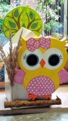 houten nestkastje beschilderd met klein uiltje  cadeau kleuterjuf