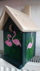 houten nestkastje beschilderd flamingopaar