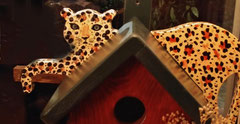 Houten Nestkastje, Nestkastje met Luipaard, Details, Vogelhuisje bouwen, vogelhuisje met luipaard_4