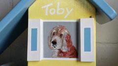 houten vogelhuisje beschilderd portret hond urne hond