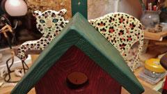 Houten Nestkastje, Nestkastje met Luipaard, Details, Vogelhuisje bouwen, vogelhuisje met luipaard_8