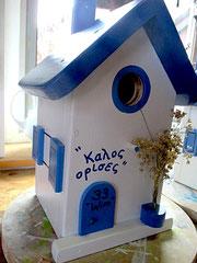 Houten Nestkastje , Grieks Nestkastje met Huisnummer , Details, Vogelhuisje bouwen ,  Grieks vogelhuisje met huisnummer , Huisjes details_1