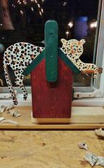 Houten Nestkastje, Nestkastje met Luipaard, Details, Vogelhuisje bouwen, vogelhuisje met luipaard_2