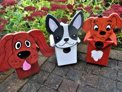 Houten Nestkastje Hond, donker bruin, Details, Vogelhuisje bouwen, meerdere Nestkastjes Hond bij elkaar