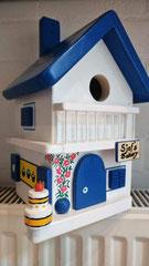 houten nestkastje beschilderd Grieks huis Bakery persoonlijk