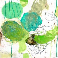green experiments III, 30x30 cm, Mischtechnik auf Holzkörper , Iris Lehnhardt 2015