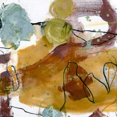 green experiments I, 30x30 cm, Mischtechnik auf Holzkörper , Iris Lehnhardt 2015