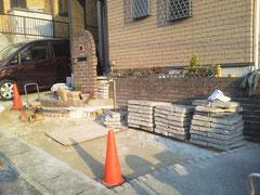 駐車場・駐輪場 サイクルポート リフォーム 既存板石解体完了!