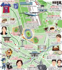 東京どんぶらこ イラストマップ 飛田給 味の素スタジアム