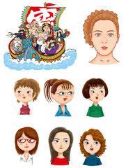 イメージ  カット宝船 七福神 女性タイプ