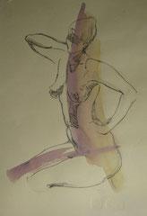"""Ню-15"", бумага, акварель, маркер, 40х38, 1994"