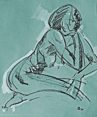 """Ню-38"", бумага, белила, литографский карандаш, 45х50. 1999"