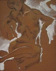 """""""Ню-37"""", бумага. пастель, литографский карандаш, белила,50х40. 1999"""