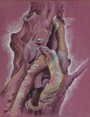 """Ольга Попова. """"Анатомия дерева"""" лист 1, пастель, литографский карандаш, 2002"""