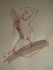 """Ню-14"", бумага, акварель, маркер, 40х38, 1994"