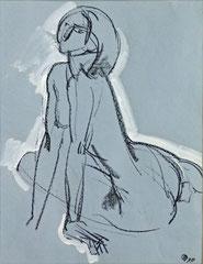 """Ню-39"", бумага, белила, литографский карандаш, 50х38. 1999"