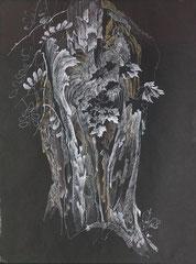 """Ольга Попова. """"Дерево в Козле"""" опольское воеводство, гелевая ручка. пастель, 1993"""