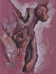 """Ольга Попова. """"Анатомия дерева"""" лист 5, пастель, литографский карандаш, 2003"""