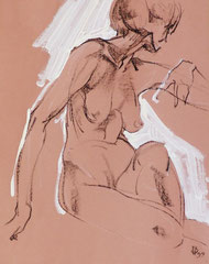 """Ню-40"", бумага, белила, литографский карандаш, 45х40. 1999"