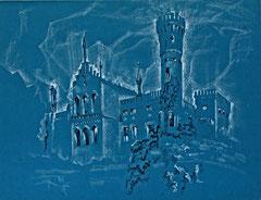 """Ольга Попова. """"Замок в Добрей"""" опольское воеводство, гелевая ручка. пастель, 2003"""