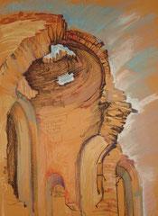 """Ольга Попова. """"Руины храма в Валуйках"""" пастель, литографский карандаш, 2005"""