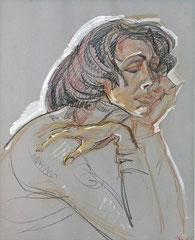 """Ольга Попова """"Грустная"""" пастель, лит.кар, сангина 1999"""