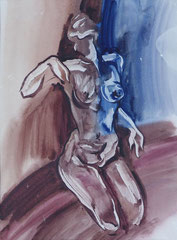 """""""Пропускающая свет"""" бумага, акварель,45х40, 1996"""
