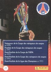 N° 11 - Palmares en Coupe d''Europe (Verso)