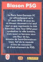 N° 49 - Blason PSG (Verso)