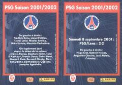 N° 50 et 51 - PSG saison 2001-02 (Verso)