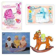 """Willkommen kleine Prinzessin"""", """"Babyzauber Glückwunschkarte Taufe"""","""