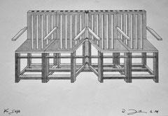 Vier Stühle (Tusche- und Bleistiftzeichnung)