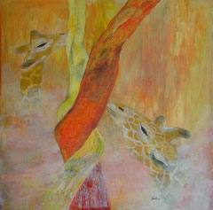 Giraffen - rete mirabile, Acryl, 80x80cm