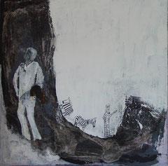 blanke swart dans, Acryl, 80x80cm