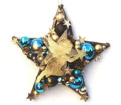 Großer 50 cm Stern in gold - blau - und schwarz mit goldenem Engel.