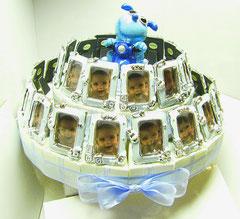 torta bomboniera cornicetta azzurro
