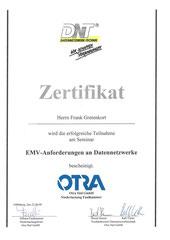 Zertifikat über EMV-Anforderungen an Datennetzwerke