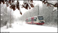 Am 13.12.2010 ist der Triebwagen der Citybahn Chemnitz als VT 515 zwischen Chemnitz und Niederwiesa unterwegs.