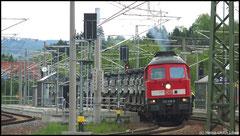 233 458 ist mit Militärtransport am 07.05.2010 von Marienberg durch Niederwiesa.