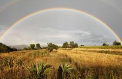 Regenbogen über den Feldern am Stadtrand von Tlaxcala / Mais - Mexiko