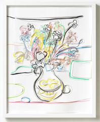Blumen III, 2018, Grafitstift, Ölpastell, Buntstift, Papier, gerahmt, 50 x 40 cm