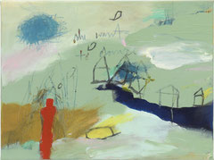 SHE WANTS TO DANCE, 2012, Acryl, Buntstift, Pastell auf Leinwand, 30 x 40 cm