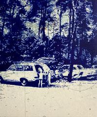 Sonntag, 2021, Kugelschreiber auf Seekarte auf Holz, 30 x 25 cm