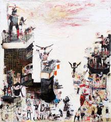 TRAFALGAR, 2014, Papier und Mischtechnik auf Leinwand, 220 x 200 cm